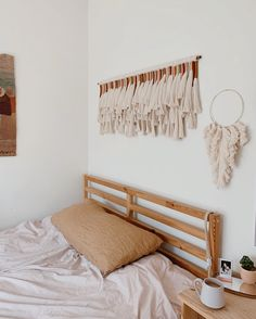 A macrame wall hanging made with fine combed cotton rope and cotton thread to create a unique work of mode… Macrame Wall Hanging Diy, Hanging Wall Art, Wall Hangings, Diy Crafts To Sell, Home Crafts, Yarn Wall Art, Leather Wall, Home Room Design, Macrame Design