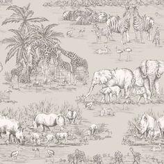 Colours Watering Hole Taupe Animal Safari Metallic Wallpaper | Departments | DIY at B&Q