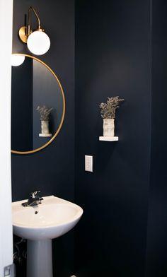 Powder Room Paint, Powder Room Decor, Powder Room Design, Powder Room Lighting, Small Downstairs Toilet, Small Toilet Room, Downstairs Bathroom, Bathroom Interior Design, Bathroom Inspiration