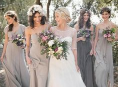 Bridesmaids, like the different colour tones