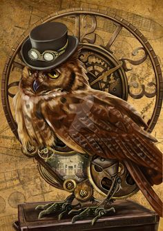 owl steampunk by on DeviantArt Steampunk Animals, Steampunk Artwork, Steampunk Images, Graffiti Kunst, Owl Artwork, Pictures For Sale, Meaningful Tattoos For Women, Temporary Tattoo Designs, Steampunk Fashion