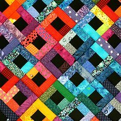 bright colors contrast with black squares