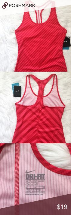 Nike Red Drifit Sculpt Fitted Athletic Tank Top * Nike Drifit Sculpt Printed Fitted Tank * Racerback Style * Diagonal Stripe Print * Stretchy  Size: Medium Color: Red Condition: New With Tags Material: 100% Recycled Polyester  Measurements Length: 26 inches Bust: 31 inches All measurements are approximate.  No stains, rips, tears | Pet/Smoke free home. Offers welcomed ✨ Nike Tops Tank Tops