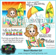 (See all our Beach themed products HERE)  You receive both Color & Outline JPG & PNGs  Illustrated by Kris Breach  *Projects by Lisa Lynn,  Linda Kupstas, Barb Burgess, Tania Scott, Monique Schattefor, Deanne Clarke-Saunders, Silvi Mikat
