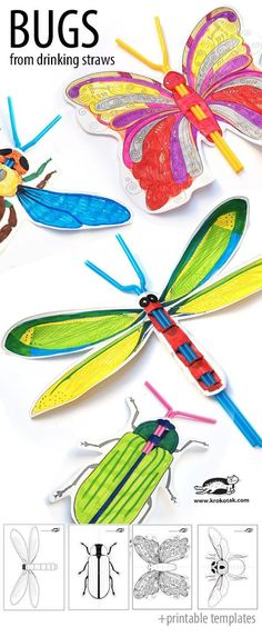 Bugs from drinking straws with printable templates