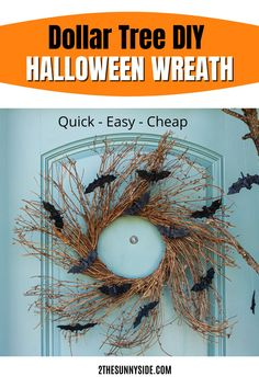 Looking for ideas for a Halloween wreath? Learn how to make a Pottery Barn inspired Halloween wreath for less than $15 and in less than 15 minutes. We saved $45 with this quick and easy DIY Halloween decor. This Halloween wreath tutorial is perfect for your front door, or over the mantle. Using Dollar Tree supplies keeps it on a budget! Get a high end look, without the high end price!