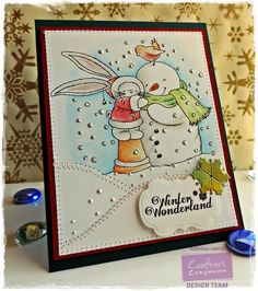 Crafter's Companion; Project by Giovana Smith. Stamp set used: Snowy Hugs. Spectrum Noir Pencils used: Bunny and Snowman: 112, 113, 114, 009, Coat: 023, 024, 025, 026 Scarf: 045, 057, 060, Bird: 091, 095, Cone: 009, 019, 022, Background: 065, 066, 069. @crafterscomp , #spectrumnoir