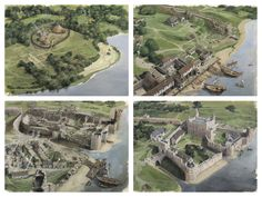 The site of the Tower of London - top left: 40AD before the Romans, right: 400 AD, Twilight of the Roman City -bottom left: 1080 The Conquerors' Castle and right: 1200 AD the Tower enlarged. via royalarmouries org