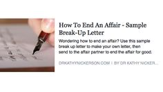 How To End An Affair  Sample BreakUp Letter  Advice