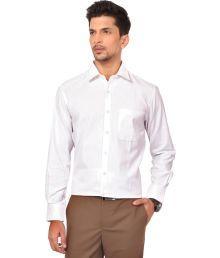 Warewell Classy White Rich Cotton Regular Fit Smart Formal Shirt For Men