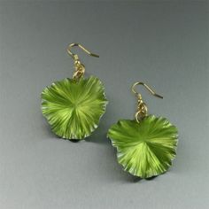 Lime Anodized Aluminum Lily Pad Earrings by johnsbrana on Etsy, $40.00
