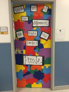 41 Trendy Classroom Door Decorating Contest Back To School Classroom Bulletin Boards, Autism Classroom, Special Education Classroom, Classroom Door, Preschool Classroom, Classroom Ideas, Kindergarten, Autism Awareness Month, Autism Awareness Crafts