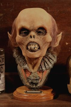Mummified Goblin Shrunken Head Human Skull Real Kuebler Tattoo Sideshow Oddity in Collectibles, Fantasy, Mythical