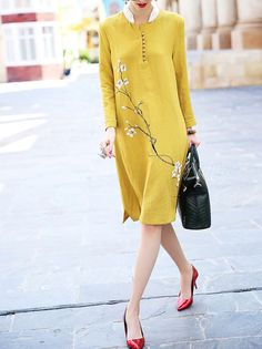 Yellow Floral Turtleneck Long sleeve Shift Flowers Pattern Printed Cotton/Linen Midi Dress