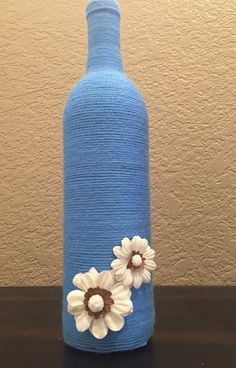 Wine Bottle Decor 'CHARLOTTE' Bottles Blue & White