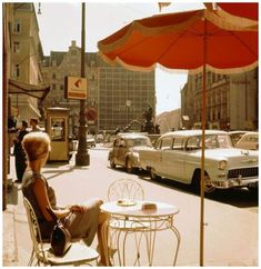 """thisobscuredesireforbeauty: """" Street scene in Vienna, Photo: Kees Scherer Source """" Coffee Shops, Photomontage, Vintage Photography, Street Photography, Paris 3, 70s Aesthetic, Cafe Style, 70s Style, Style Blog"""