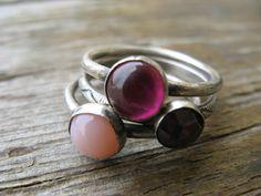 stacking rings size 6.5   rustic berries - pink opal, garnet & ruby quartz   $56 by JewlLi