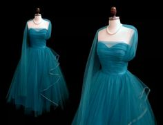 1950s aqua tulle party dress