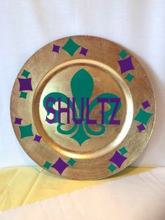 Gold Plate Personalized with Mardi Gras design | grammeshouse - Housewares on ArtFire