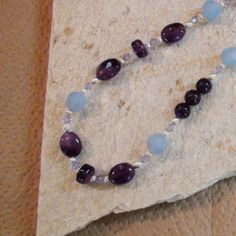 Items similar to Amethyst and Baby Blue Swarovski Crystal Necklace in  Sterling Silver on Etsy 940a95dc376