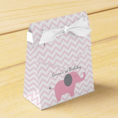 Pink Elephant Party Favor Box