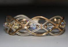 Wire wrapped Braided Bangle Bracelet by JanCramer on Etsy