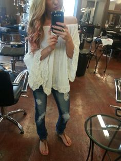 Love the Boho blouse and patched jeans, and I of course love the pink highlights in the hair!