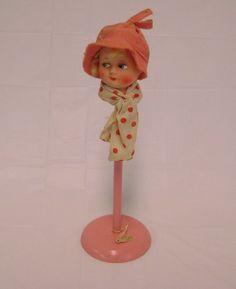 2202b1b73b0 Vtg 1920 s-1930 s flapper doll s head cloche hat stand figural boudoir old  stock
