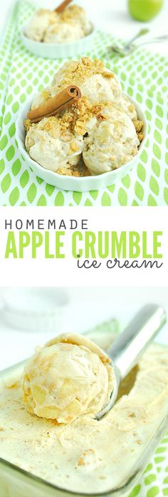 When apples are in season, we can't wait to make homemade ice cream - apple crumble ice cream that is! Homemade crumble topping with fresh apples and sweet ice cream, it's literally our favorite flavor and so much healthier than store bought! :: DontWastetheCrumbs.com