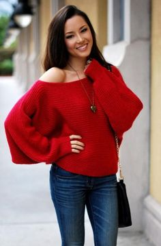 Off Shoulder Red Sweater 2017 Street Style