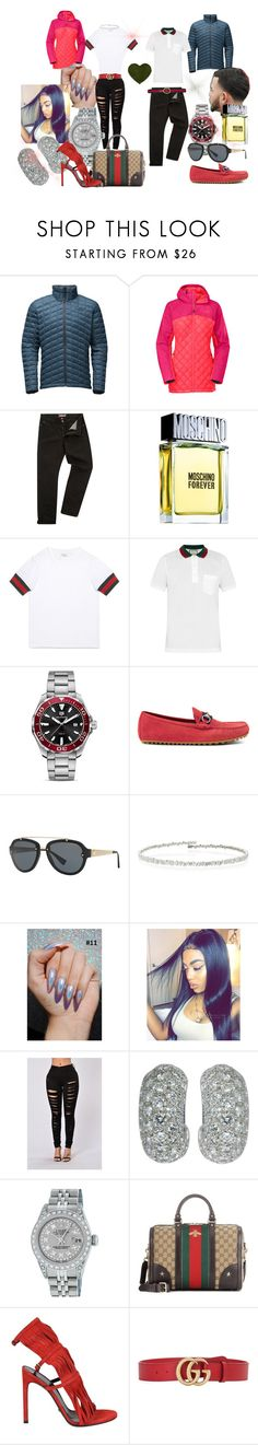 """""""His&Hers"""" by kkeeaannii on Polyvore featuring The North Face, Victorinox Swiss Army, Moschino, Gucci, TAG Heuer, Versace, Suzanne Kalan, Tiffany & Co. and Rolex"""