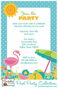 Free printable beach party invitations from pool birthday party invitation printables by amy locurto bright colors for a fun summer stopboris Image collections
