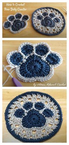 How to Crochet Paw Doily Coaster Video Tutorial Quick Crochet, Cute Crochet, Crochet Crafts, Crochet Projects, Knit Crochet, Thread Crochet, Filet Crochet, Crochet Motifs, Crochet Squares