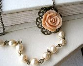 Peach Bridesmaid Necklace - pink, flower, pearls, vintage inspired, nature, bride, wedding, tagt