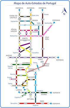 Mapa de carreteras y autopistas de Portugal