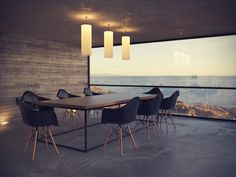 Dining room with an ocean view