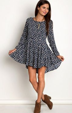 Oopsie Daisy Navy Swing Dress - ShopLuckyDuck  - 1