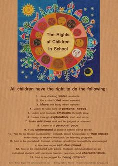 In my work as an educational consultant, I have visited many schools all over the world. I have observed, in both traditional and alternative schools, that children's basic rights are often i… Rights Respecting Schools, Rights And Responsibilities, School Safety, Play Based Learning, Classroom Community, School Psychology, Thinking Skills, Early Childhood Education, Classroom Management
