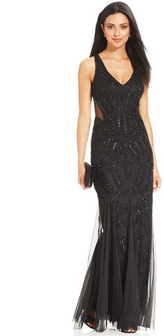 Adrianna Papell Sleeveless Beaded Mermaid Gown on shopstyle.co.uk