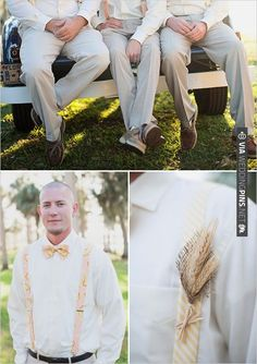 super cute groomsman style  + wheat used for rustic boutonniere | CHECK OUT MORE IDEAS AT WEDDINGPINS.NET | #bridesmaids
