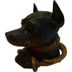 Rare Viennese Cold Painted Bronze Doberman Inkwell c.1890 - Dog