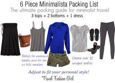 6 Piece Minimalist Packing List - #Travel #Fashion