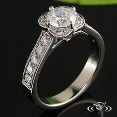 14K WHITE GOLD SCALLOPED HALO DIAMOND RING #GreenLakeJewelry