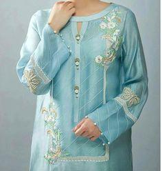 Latest kurti neckline designs - The handmade craft Kurti Sleeves Design, Sleeves Designs For Dresses, Neck Designs For Suits, Kurta Neck Design, Neckline Designs, Dress Neck Designs, Blouse Designs, Stylish Dress Designs, Stylish Dresses For Girls