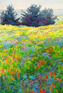 robin purcell california watercolors in the plein air tradition: Pacific Meadow,Plein Air Watercolor