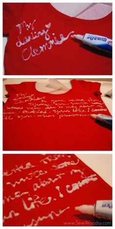 Do this to t-shirts before reusing for other crafts.