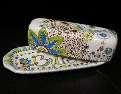 Ceramic Butter Dish, Hand Painted with Chocolate, Blues and Greens, Flowers, Mushrooms and Whimsy.