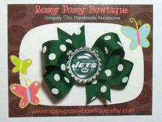 New York Jets NFL Polka Dot Football Team by roseyposeybowtique, $5.75