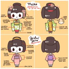 basic differences between a maiko (geisha in training) and a geisha. ~ ✿  Sharing the Worldwide JapanLove ♥ www.japanlover.me ♥ www.instagram.com...