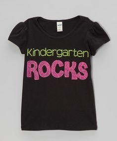 Another great find on #zulily! Rhinestone Fabuless Black 'Kindergarten Rocks' Tee - Girls by Rhinestone Fabuless #zulilyfinds